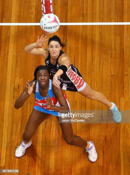Sam Wallace of the Swifts is challenged by Sharni Layton of the Magpies during the round six Super Netball match between the Swifts and the Magpies...