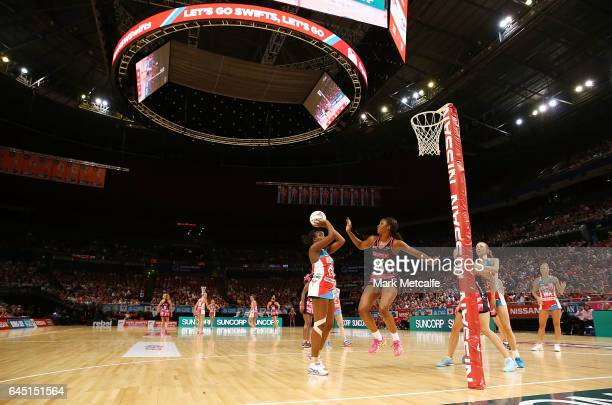 Sam Wallace of the Swifts shoots during the round two Super Netball match between the Sydney Swifts and the Adelaide Thunderbirds at Qudos Bank Arena...