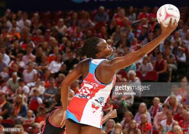 Sam Wallace of the Swifts takes a pass during the round two Super Netball match between the Sydney Swifts and the Adelaide Thunderbirds at Qudos Bank...
