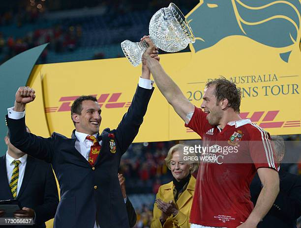 Sam Warburton and Alun Wyn Jones from the British and Irish Lions celebrate their win over Australia during the third and final rugby union Test in...