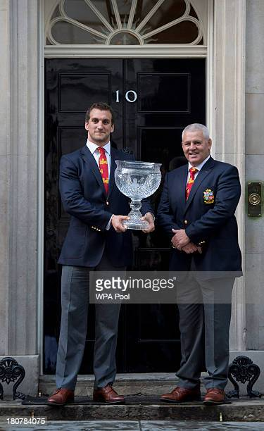 Sam Warburton and head coach Warren Gatland attend an official reception at Downing Street on September 16 2013 in London England The reception was...