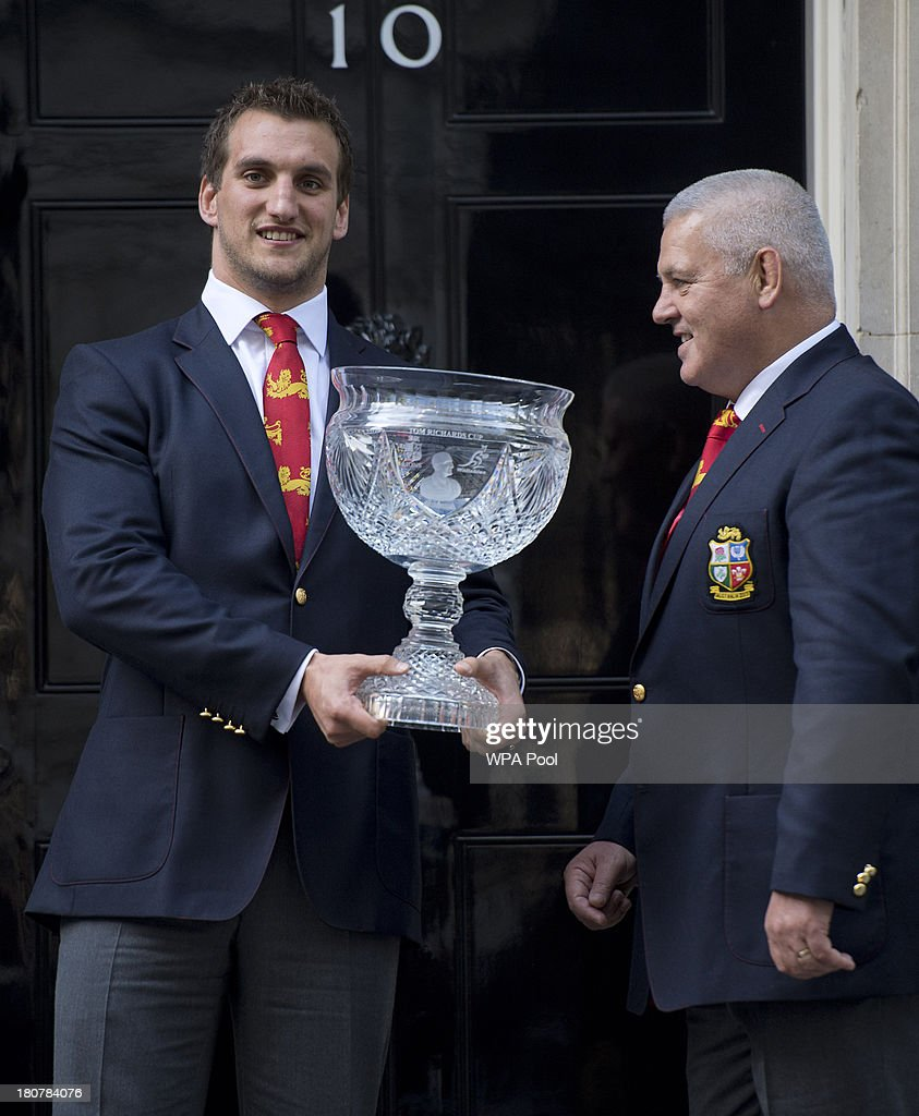 <a gi-track='captionPersonalityLinkClicked' href=/galleries/search?phrase=Sam+Warburton+-+Rugby+Player&family=editorial&specificpeople=4234449 ng-click='$event.stopPropagation()'>Sam Warburton</a> (L) and head coach <a gi-track='captionPersonalityLinkClicked' href=/galleries/search?phrase=Warren+Gatland&family=editorial&specificpeople=686626 ng-click='$event.stopPropagation()'>Warren Gatland</a> (R) attend an official reception at Downing Street on September 16, 2013 in London, England. The reception was to mark the British Lions victorious tour of Australia in the summer.