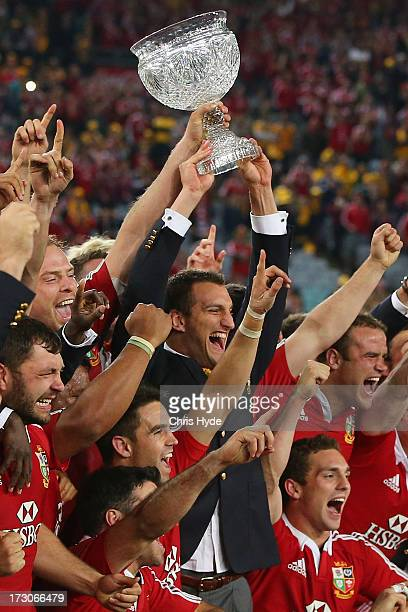 Sam Warburton and the British Irish Lions celebrate with the Tom Richards Cup after winning the International Test match between the Australian...
