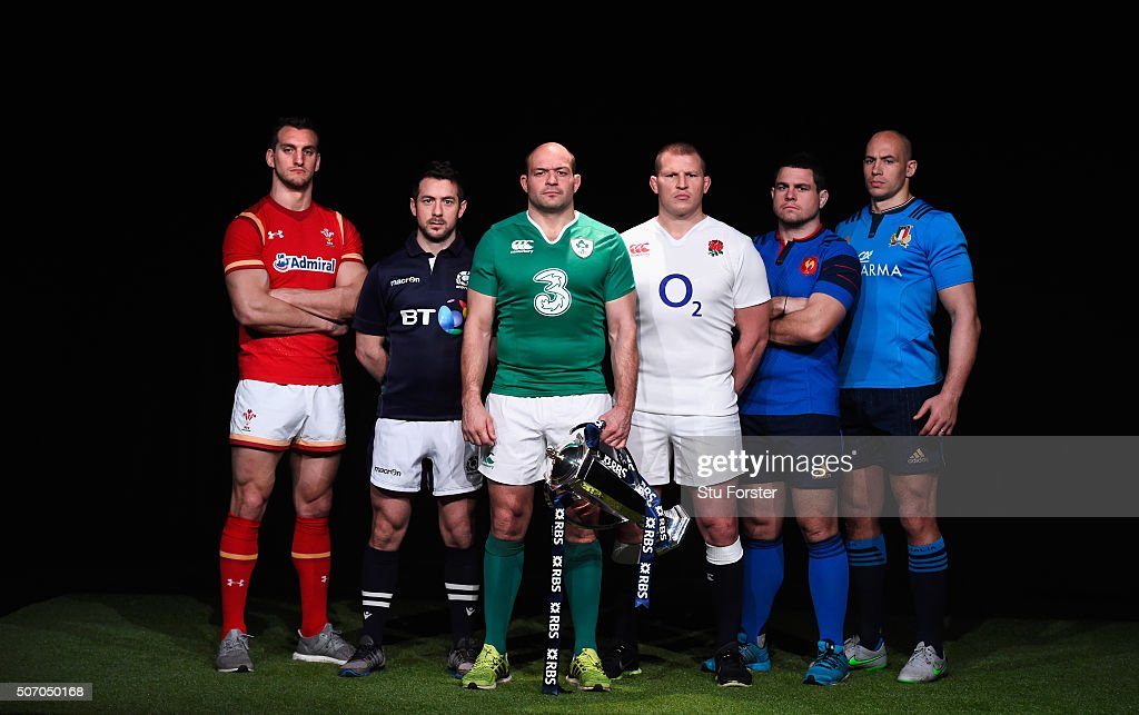 Sam Warburton, captain of Wales, Greig Laidlaw, captain of Scotland, Rory Best, captain of Ireland, Dylan Hartley, captain of England, Guilhem Guirado, captain of France and Sergio Parisse, captain of Italy pose during the RBS Six Nations launch at The Hurlingham Club on January 27, 2016 in London, England.