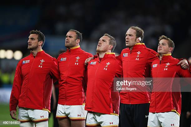 Sam Warburton Jamie Roberts Gethin Jenkins Alun Wyn Jones and Hallam Amos of Wales sing the national anthem during the 2015 Rugby World Cup Pool A...