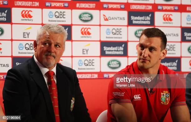 Sam Warburton looks on as Warren Gatland speaks to the media during the British and Irish Lions tour squad announcement at the Hilton London Syon...