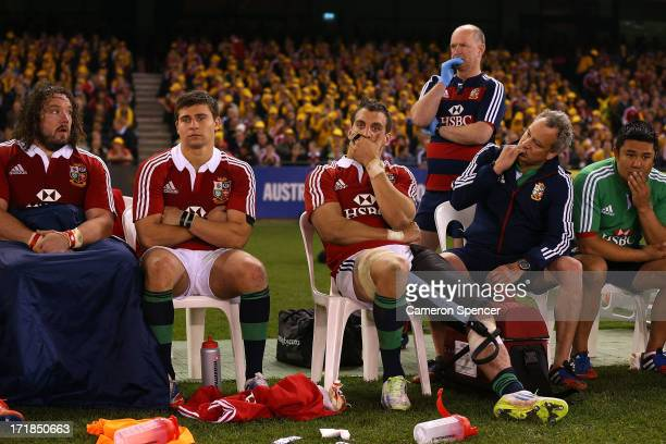 Sam Warburton of the Lions and team mates watch on from the bench during game two of the International Test Series between the Australian Wallabies...