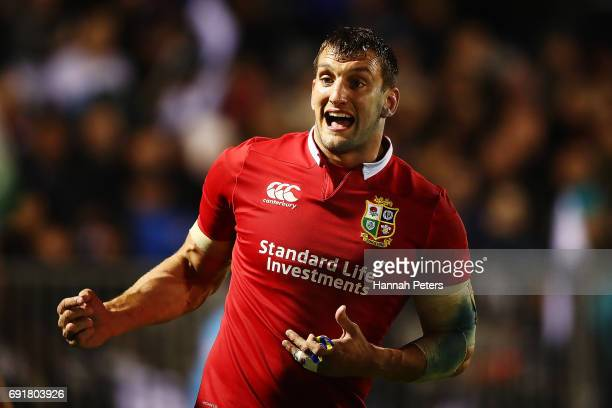 Sam Warburton of the Lions gives instructions to his players during the match between the New Zealand Provincial Barbarians and British Irish Lions...
