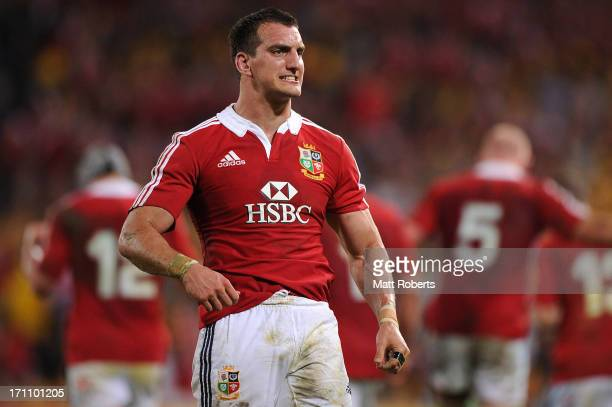 Sam Warburton of the Lions grits his teeth during the First Test match between the Australian Wallabies and the British Irish Lions at Suncorp...