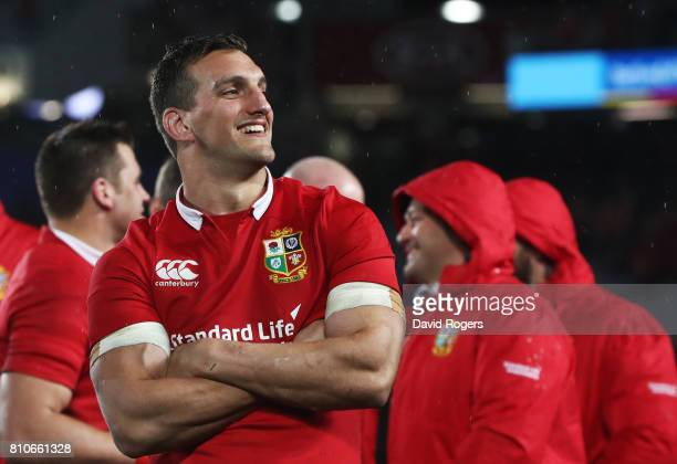 Sam Warburton of the Lions looks on following the drawn series during the third test match between the New Zealand All Blacks and the British Irish...
