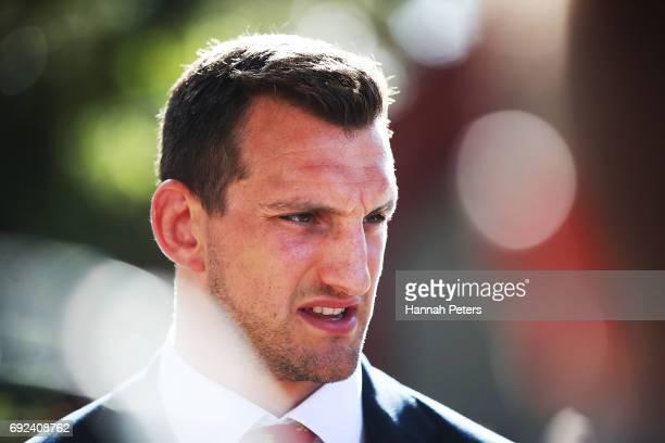 Sam Warburton of the Lions speaks to the media following the British Irish Lions Maori Welcome at Waitangi Treaty Grounds on June 4 2017 in Waitangi...