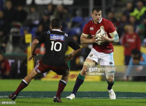 Sam Warburton of the Lions takes on Bryn Gatland during the match between the New Zealand Provincial Barbarians and the British Irish Lions at Toll...