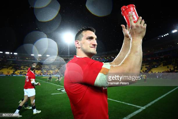Sam Warburton of the Lions thanks the crowd after winning the International Test match between the New Zealand All Blacks and the British Irish Lions...
