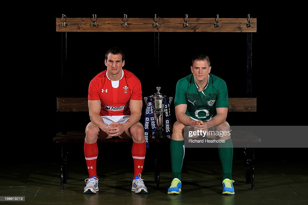 Sam Warburton of Wales and Jamie Heaslip of Ireland pose with the Six Nations trophy during the RBS Six Nations launch at The Hurlingham Club on January 23, 2013 in London, England.