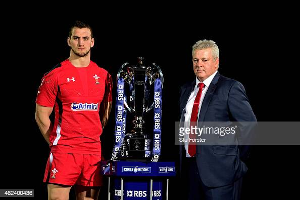 Sam Warburton of Wales and Warren Gatland the coach of Wales pose with the trophy during the launch of the 2015 RBS Six Nations at the Hurlingham...