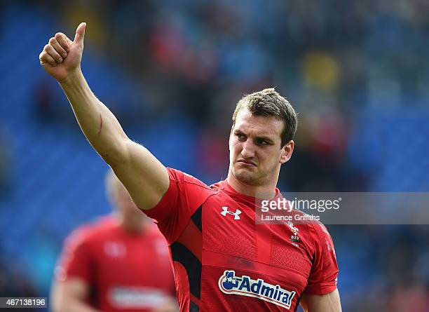 Sam Warburton of Wales applauds the fans after victory in the RBS Six Nations match between Italy and Wales at Stadio Olimpico on March 21 2015 in...