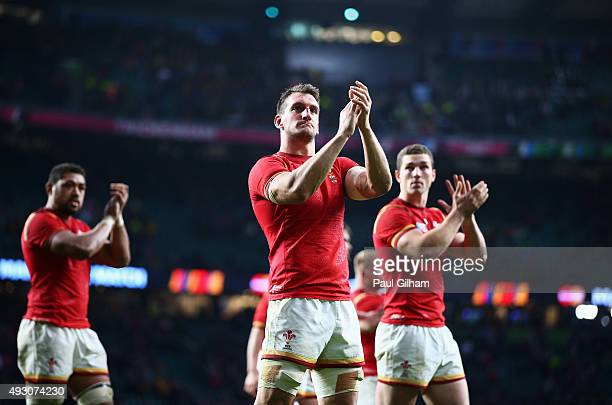 Sam Warburton of Wales applauds the fans following the 2015 Rugby World Cup Quarter Final match between South Africa and Wales at Twickenham Stadium...