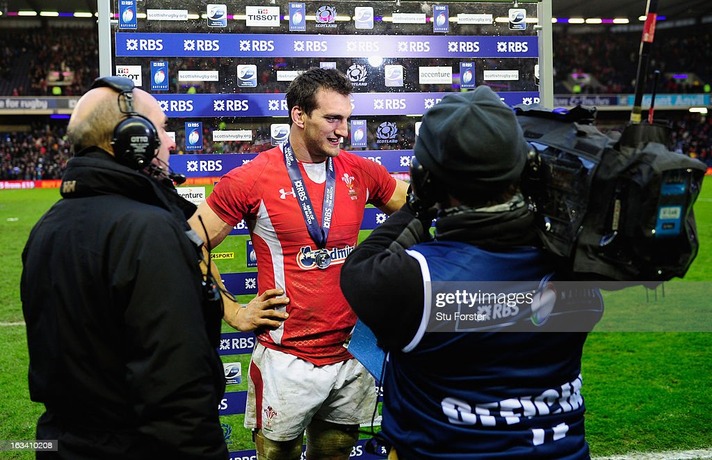 <a gi-track='captionPersonalityLinkClicked' href=/galleries/search?phrase=Sam+Warburton+-+Rugby+Player&family=editorial&specificpeople=4234449 ng-click='$event.stopPropagation()'>Sam Warburton</a> of Wales is interviewed for TV after receiving his Man of the Match award during the RBS Six Nations match between Scotland and Wales at Murrayfield Stadium on March 9, 2013 in Edinburgh, Scotland.