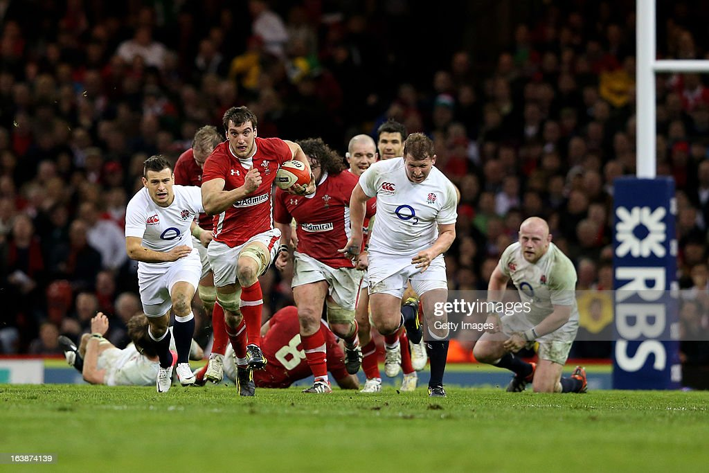 <a gi-track='captionPersonalityLinkClicked' href=/galleries/search?phrase=Sam+Warburton+-+Rugby+Player&family=editorial&specificpeople=4234449 ng-click='$event.stopPropagation()'>Sam Warburton</a> of Wales makes a break during the RBS Six Nations match between Wales and England at Millennium Stadium on March 16, 2013 in Cardiff, Wales.