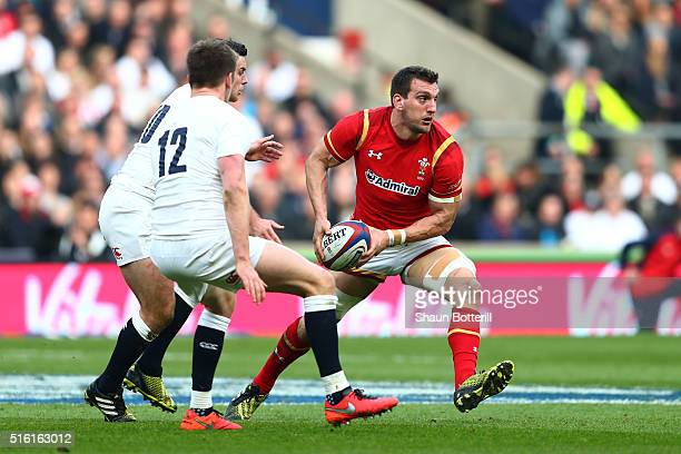 Sam Warburton of Wales offlodas during the RBS Six Nations match between England and Wales at Twickenham Stadium on March 12 2016 in London England