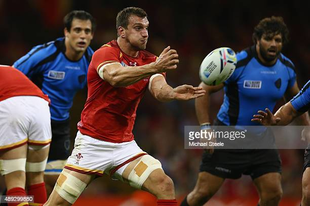 Sam Warburton of Wales passes during the 2015 Rugby World Cup Pool A match between Wales and Uruguay at Millennium Stadium on September 20 2015 in...