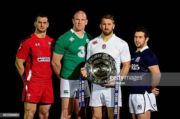 Sam Warburton of Wales Paul O'Connell of Ireland Chris Robshaw of England and Greig Laidlaw of Scotland pose with the trophy during the launch of the...