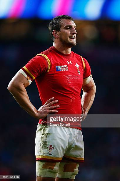 Sam Warburton of Wales reacts during the 2015 Rugby World Cup Pool A match between Australia and Wales at Twickenham Stadium on October 10 2015 in...