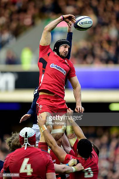 Sam Warburton of Wales wins lineout ball during the RBS Six Nations match between Scotland and Wales at Murrayfield Stadium on February 15 2015 in...