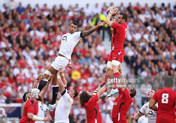 Sam Warburton of Wales wins lineout ball under pressure from Courtney Lawes of England during the RBS Six Nations match between England and Wales at...