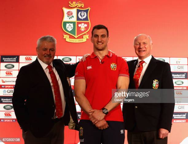 Sam Warburton poses for the cameras flanked by Warren Gatland and John Spencer during the British and Irish Lions Tour Squad and Captain annoucement...