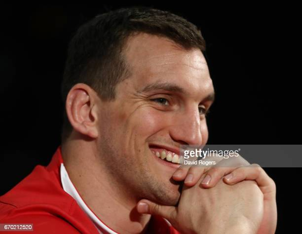 Sam Warburton speaks to the media during the British and Irish Lions tour squad announcement at the Hilton London Syon Park Hotel on April 19 2017 in...