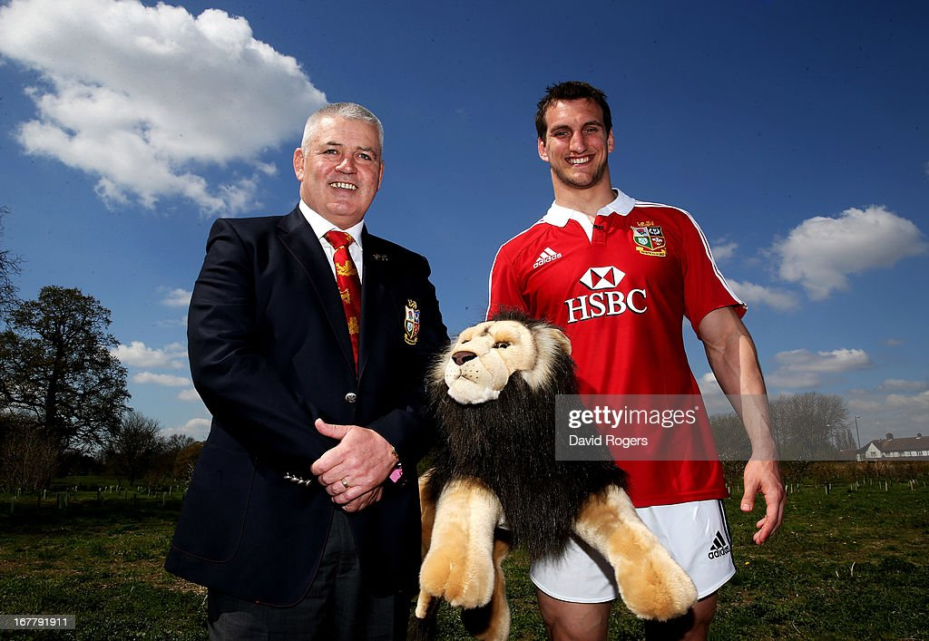 Sam Warburton (R) The British and Irish Lions Captain and Warren Gatland the British and Irish Lions Head Coach pose for thew cameras during the 2013 British and Irish Lions tour squad and captain announcement at London Syon Park Hotel on April 30, 2013 in London, England.