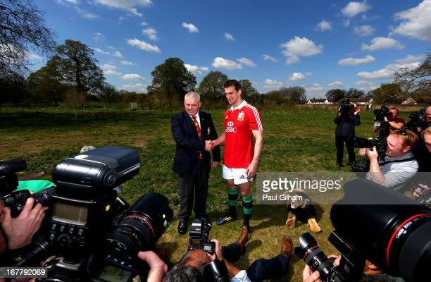 Sam Warburton The British and Irish Lions Captain and Warren Gatland the British and Irish Lions Head Coach pose for thew cameras during the 2013...