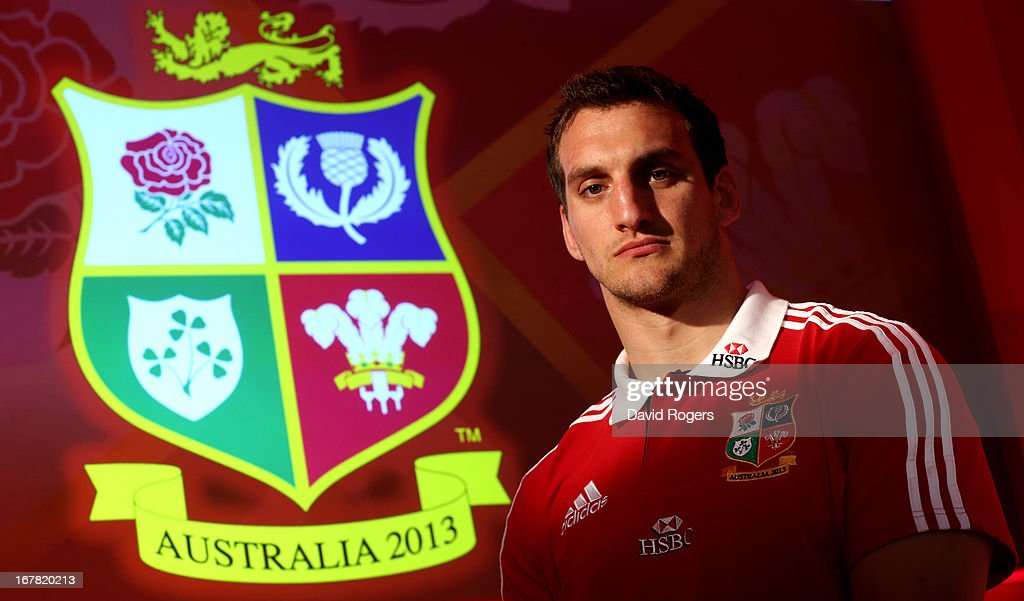 Sam Warburton The British and Irish Lions Captain poses for the cameras during the 2013 British and Irish Lions tour squad and captain announcement at London Syon Park Hotel on April 30, 2013 in London, England.