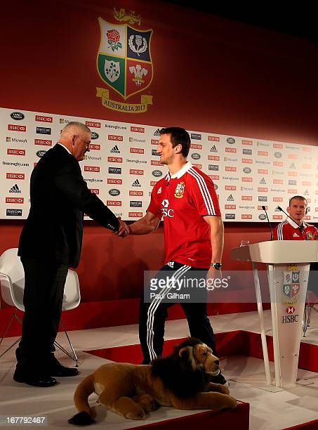 Sam Warburton The British and Irish Lions Captain shakes hands with Warren Gatland the British and Irish Lions Head Coach during the 2013 British and...