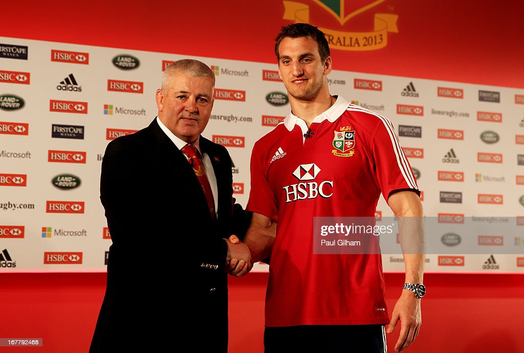 <a gi-track='captionPersonalityLinkClicked' href=/galleries/search?phrase=Sam+Warburton+-+Rugby+Player&family=editorial&specificpeople=4234449 ng-click='$event.stopPropagation()'>Sam Warburton</a> (R) The British and Irish Lions Captain shakes hands with <a gi-track='captionPersonalityLinkClicked' href=/galleries/search?phrase=Warren+Gatland&family=editorial&specificpeople=686626 ng-click='$event.stopPropagation()'>Warren Gatland</a> the British and Irish Lions Head Coach during the 2013 British and Irish Lions tour squad and captain announcement at London Syon Park Hotel on April 30, 2013 in London, England.