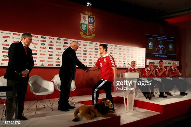 Sam Warburton The British and Irish Lions Captain shakes hands with Warren Gatland the British and Irish Lions Head Coach during the 2013 British and...