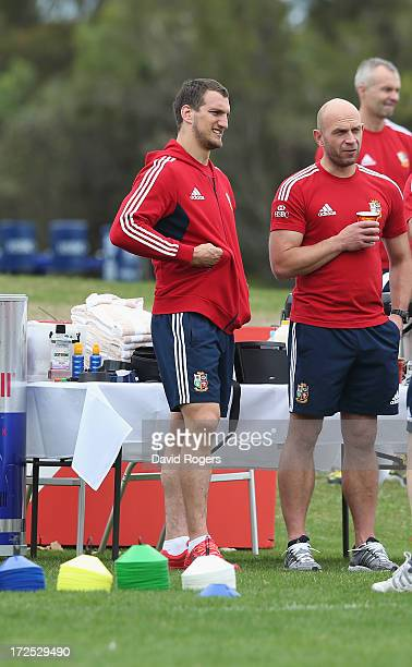 Sam Warburton the British and Irish tour captain who will miss the third and final test against the Wallabies due to injury looks on during a British...