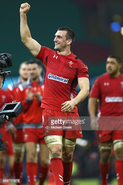 Sam Warburton the captain of Wales celebrates his sides 126 victory during the International match betwwen Wales and South Africa at the Millennium...