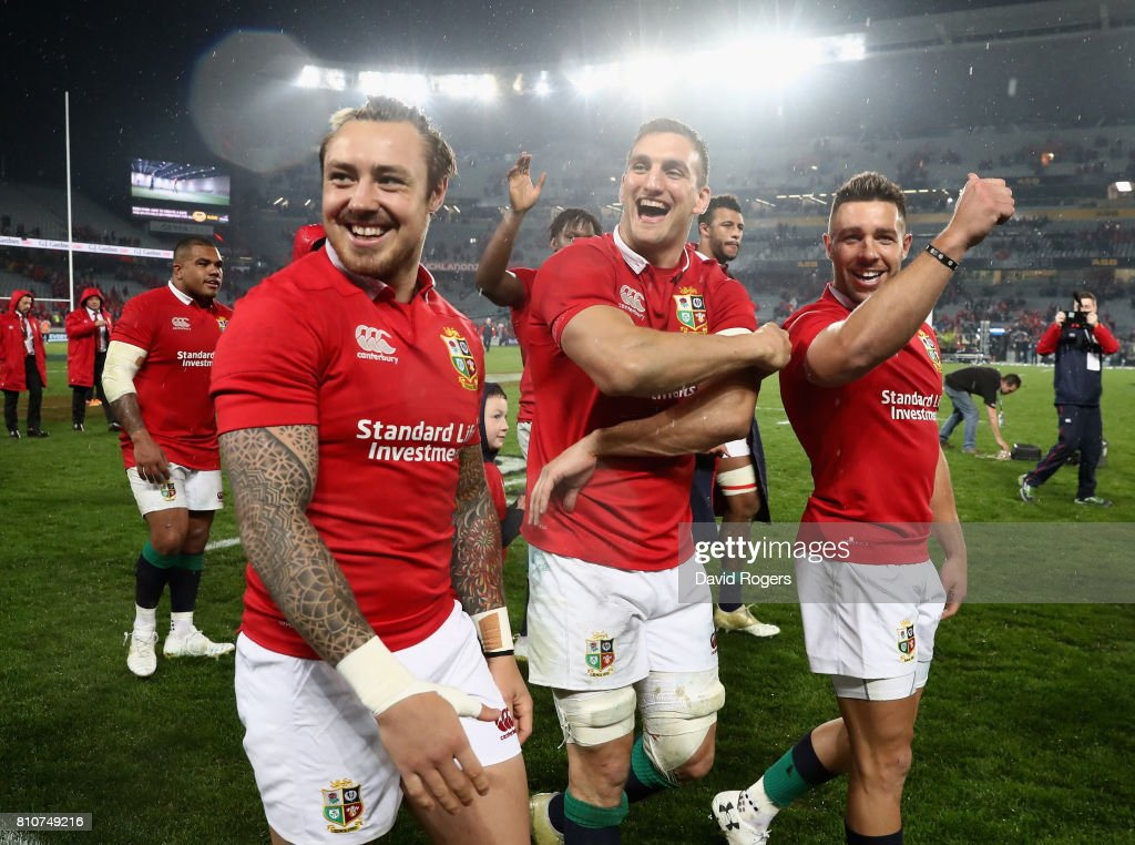 Sam Warburton, (C) the Lions captain, Jack Nowell (L) and Rhys Webb acknowledges the Lions supporters after they draw the final test 15-15 and tie the series during the Test match between the New Zealand All Blacks and the British & Irish Lions at Eden Park on July 8, 2017 in Auckland, New Zealand.