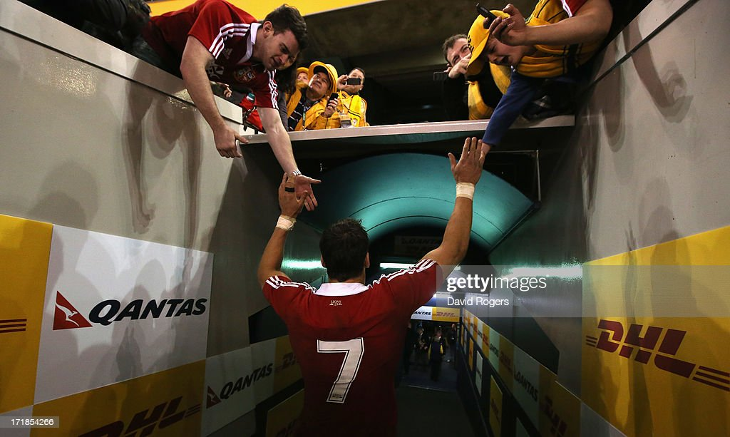 Sam Warburton, the Lions captain receives the consolation of the Lions fans after his teams defeat during game two of the International Test Series between the Australian Wallabies and the British & Irish Lions at Etihad Stadium on June 29, 2013 in Melbourne, Australia.