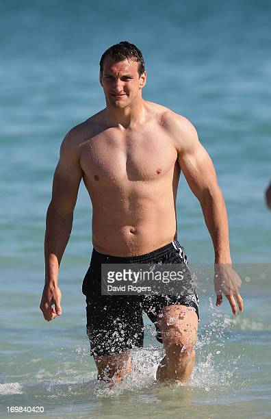 Sam Warburton the Lions captain walks out of the ocean during the British and Irish Lions swimming session at City Beach on June 3 2013 in Perth...