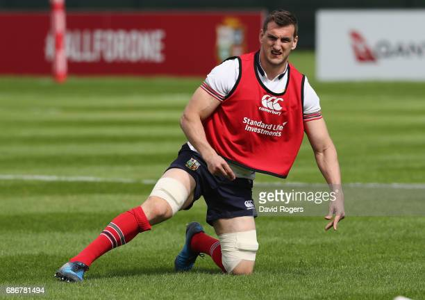 Sam Warburton the Lions captain warms up during the British and Irish Lions training session held at Carton House Golf Club on May 22 2017 in...