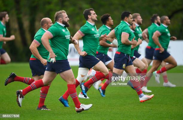 Sam Warburton warms up during a British and Irish Lions training session at Vale of Glamorgan on May 15 2017 in Cardiff Wales