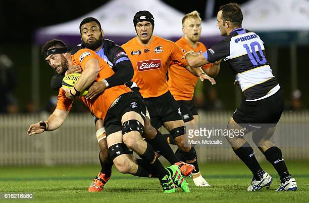 Sam Ward of the Eagles is tackled during the 2016 NRC Grand Final match between the NSW Country Eagles and Perth Spirit at Scully Park on October 22...