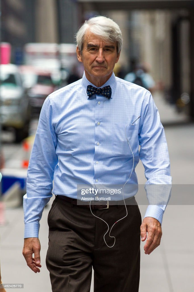 Sam Waterston is seen on location in Times Square for 'The Newsroom' on July 19, 2014 in New York City.