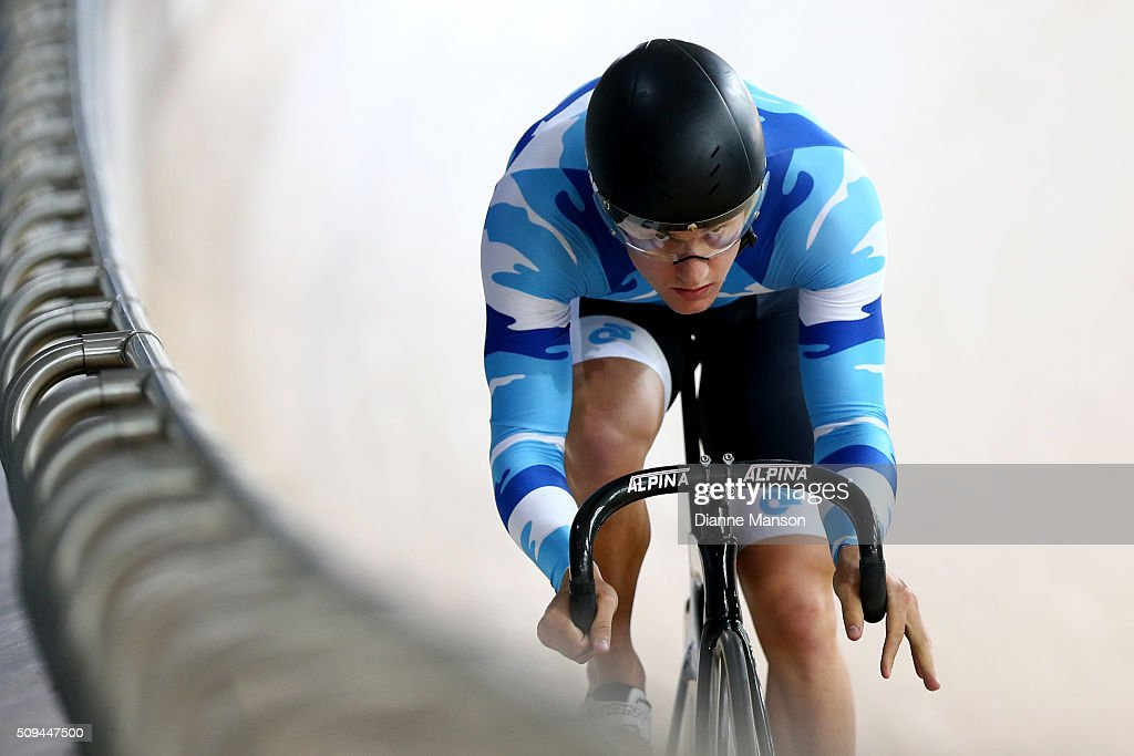 Sam Webster of Auckland competes in the Elite Men Sprint during the New Zealand Track National Championships on February 11, 2016 in Cambridge, New Zealand.