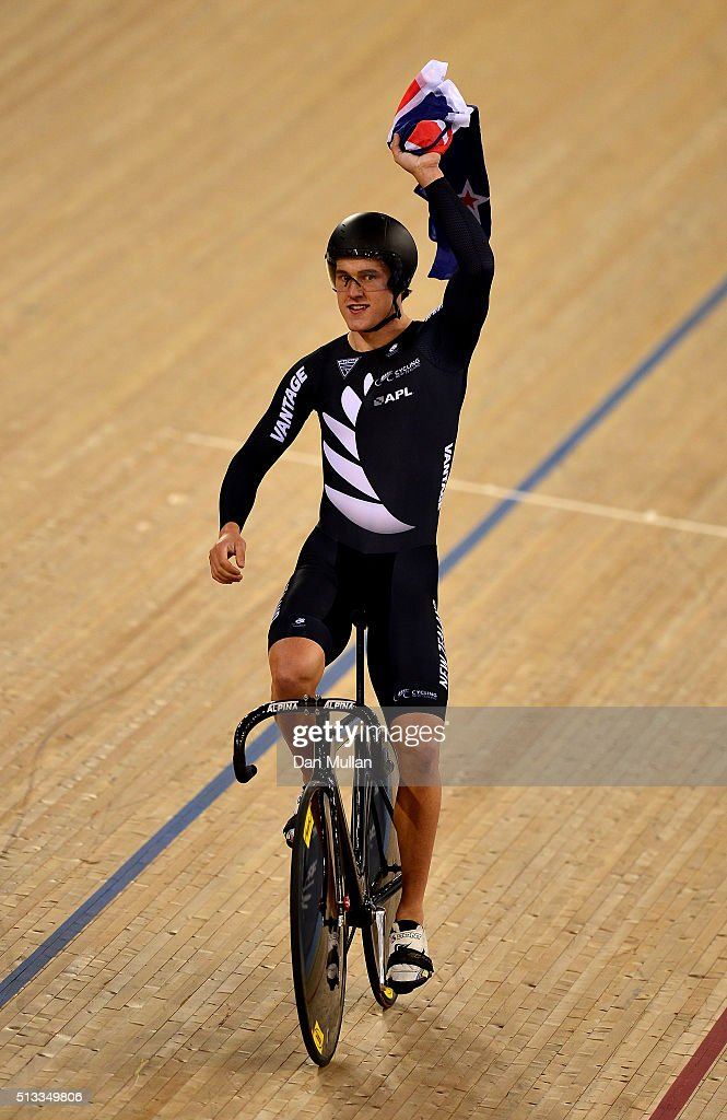 Sam Webster of New Zealand celebrates winning gold medal in the Mens team sprint during the UCI Track Cycling World Championships at Lee Valley Velopark Velodrome on March 2, 2016 in London, England.