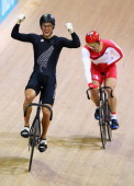 Sam Webster of New Zealand celebrates winning Gold over Jason Kenny of England in the Men's Sprit Final at Sir Chris Hoy Velodrome during day two of...
