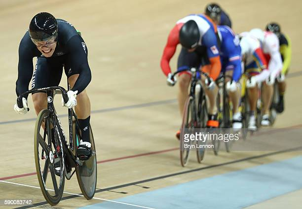 Sam Webster of New Zealand leads Francois Pervis of France Callum Skinner of Great Britain Azizulhasni Awang of Malaysia Matthijs Buchli of the...